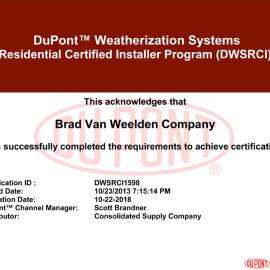 Brad Van Weelden DuPont Weatherization Certificate