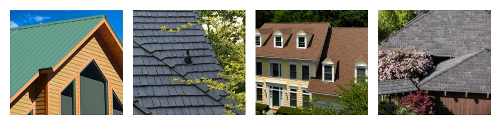 photos of green metal residential roofing, gray composite shake shingle roofing, brown asphalt shingle roofing, and gray composite roofing