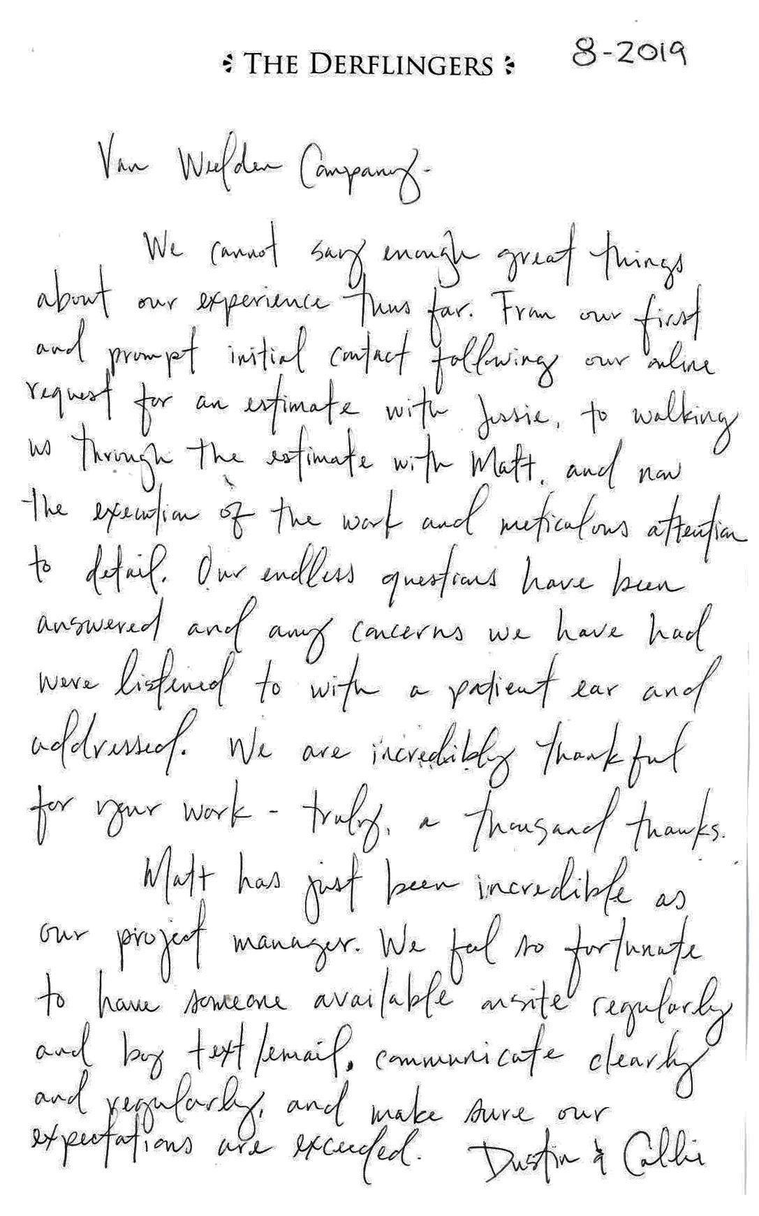 testimonial photo of the written format